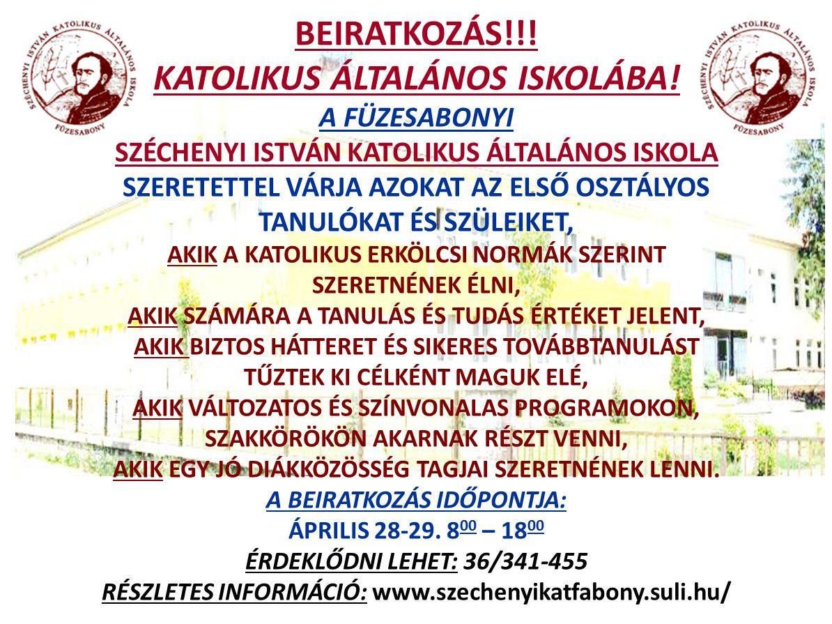 Beiratkozás felhívás 2014-2015 Széchenyi Füzesabony